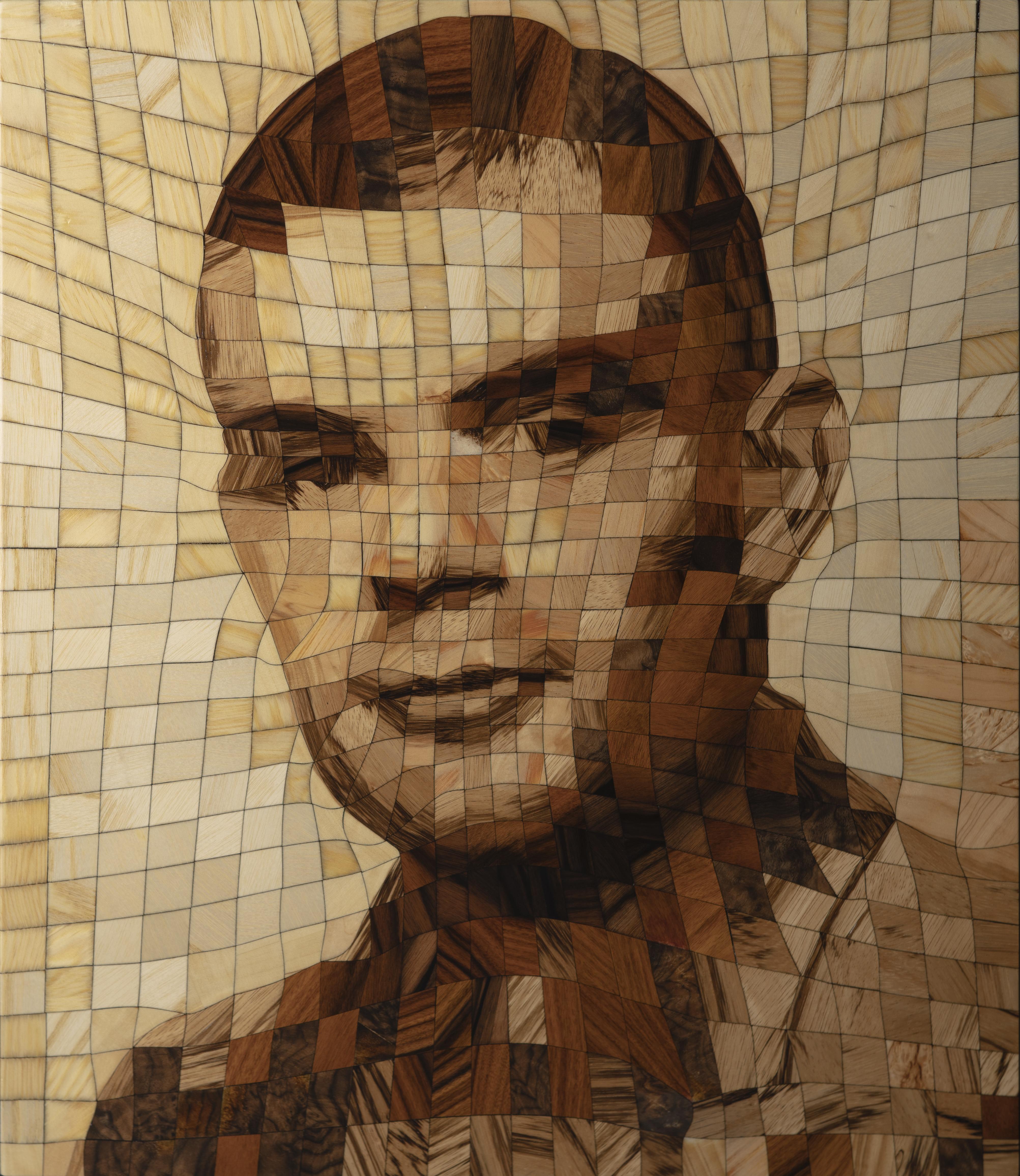 Portrait en bois d'Alan Turing (2019)