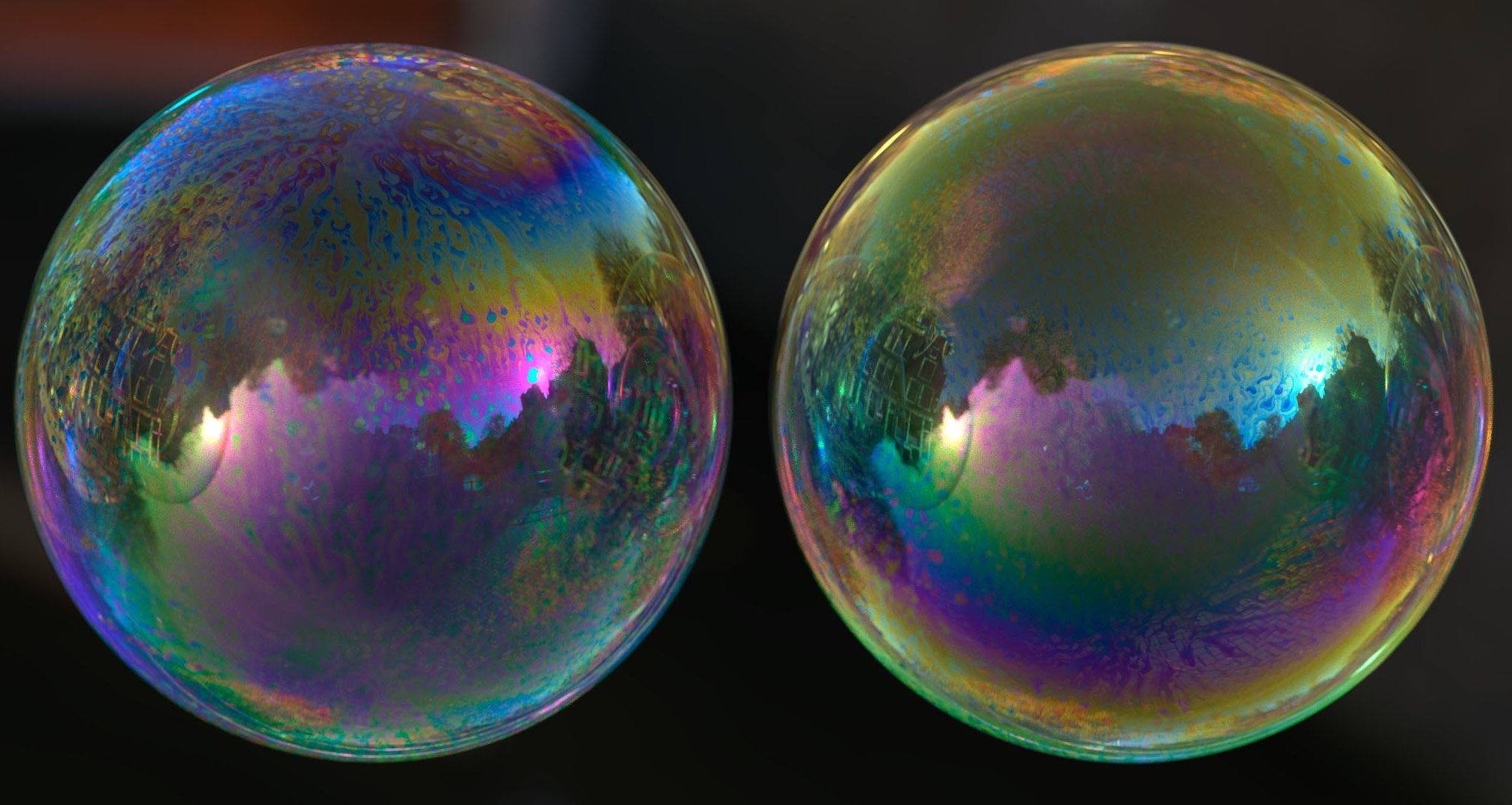 Chemomechanical Simulation of Soap Film Flow on Spherical Bubbles